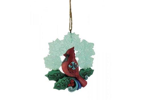 Heartwood Creek Cardinal with Snowflake Wreath (Hanging Ornament) - Heartwood Creek