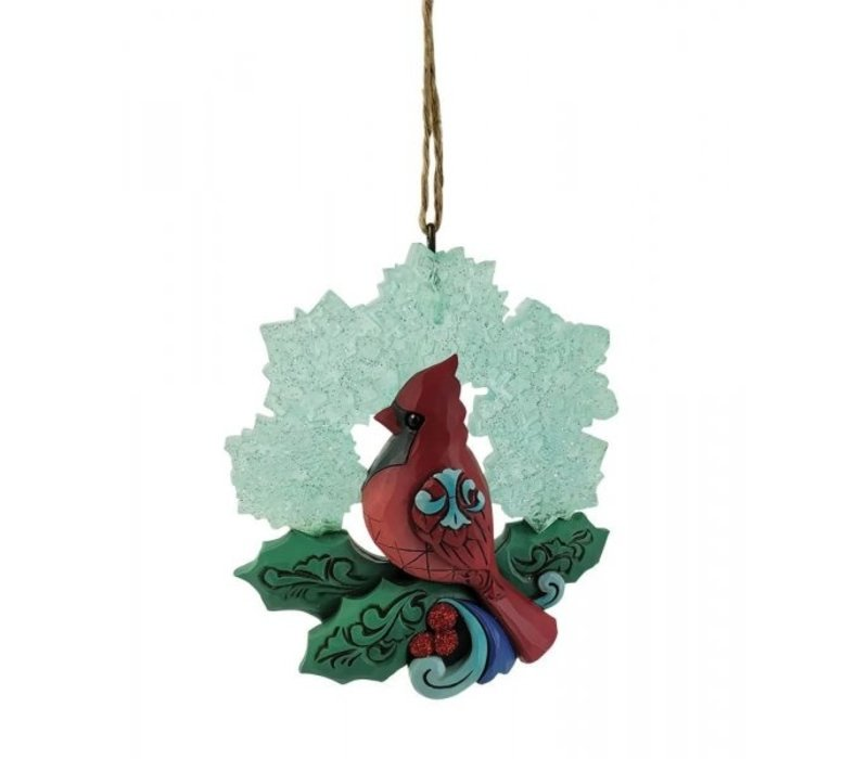 Heartwood Creek - Cardinal with Snowflake Wreath (Hanging Ornament)