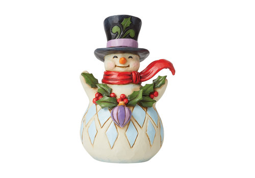 Heartwood Creek Making Things Merry (Pint Sized Snowman with Holly Garland) - Heartwood Creek