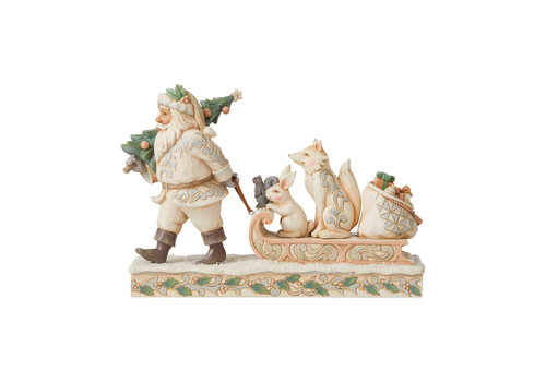 Heartwood Creek Santa pulling sled with Animals (White Woodland) - Heartwood Creek