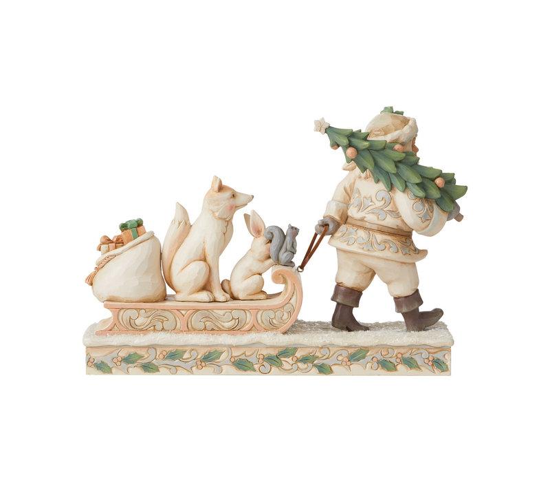 Heartwood Creek - Santa pulling sled with Animals (White Woodland)