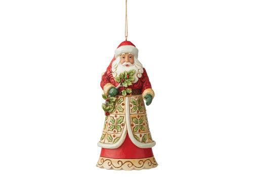Heartwood Creek Santa with Holly  (Hanging Ornament) - Heartwood Creek