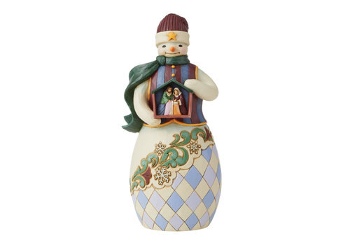 Heartwood Creek Embrace The Merry Miracle (Snowman Holding Nativity Stable) - Heartwood Creek