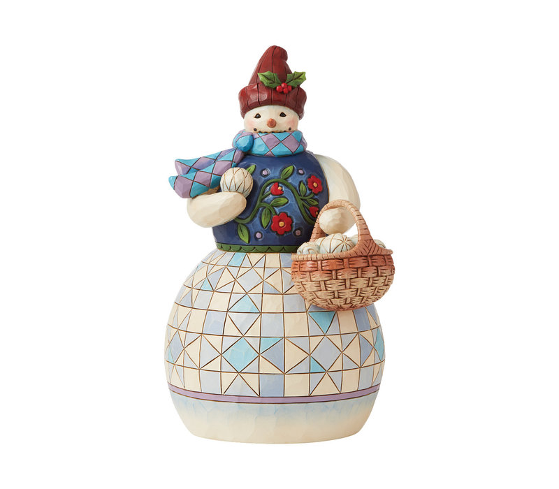 Heartwood Creek - Snowman with Basket of Snowballs