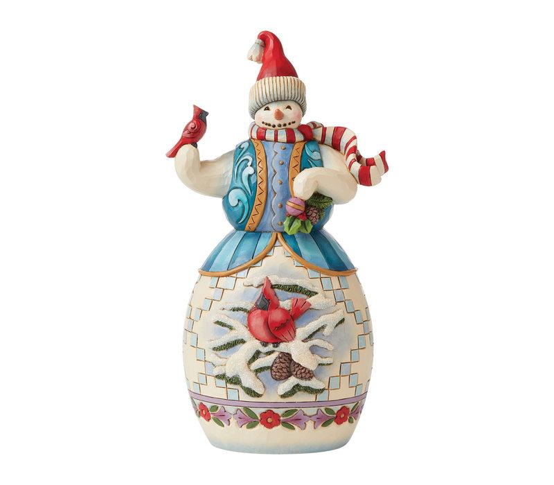 Heartwood Creek - Snowman with Cardinal