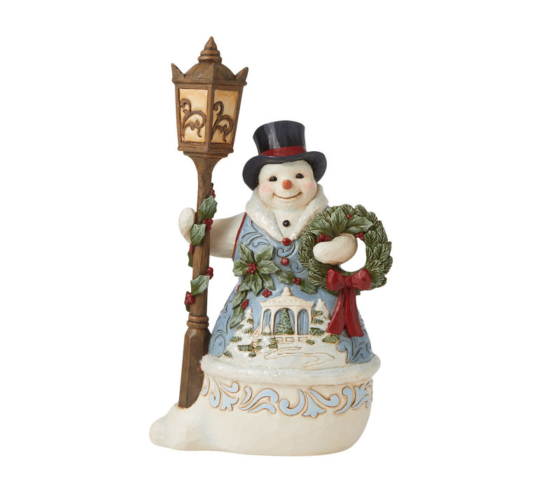 Heartwood Creek - Snowman with Lampost and Scene