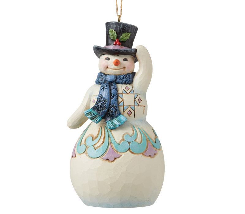 Heartwood Creek - Snowman with Top Hat and Scarf Hanging Ornament