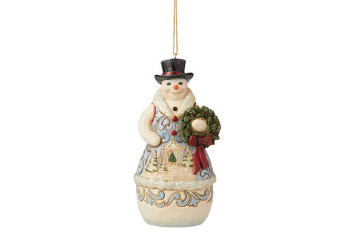 Heartwood Creek Victorian Christmas Snowman with Wreath Hanging Ornament - Heartwood Creek