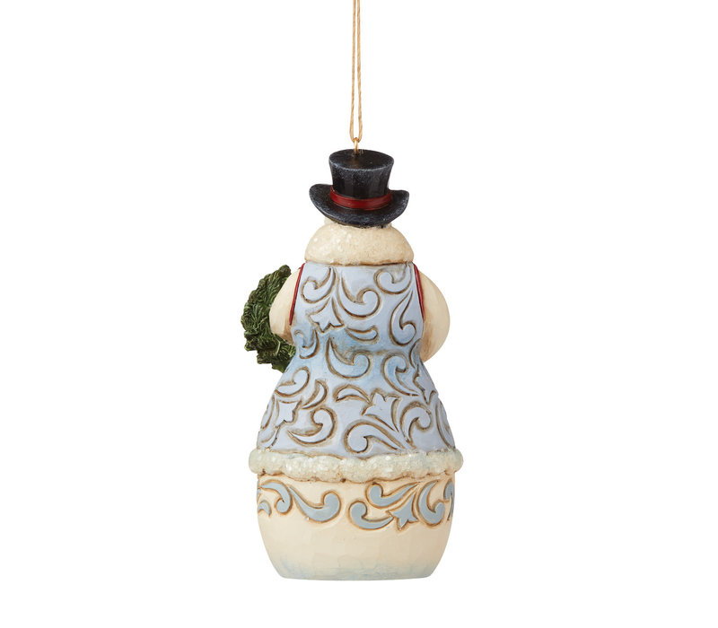 Heartwood Creek - Victorian Christmas Snowman with Wreath Hanging Ornament