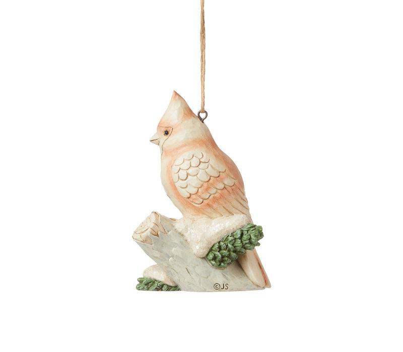 Heartwood Creek - White Woodland Cardinal Hanging Ornament