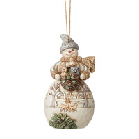 Heartwood Creek - White Woodland Snowman with Basket and Animals Hanging Ornament