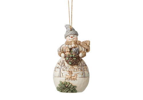 Heartwood Creek White Woodland Snowman with Basket and Animals Hanging Ornament - Heartwood Creek