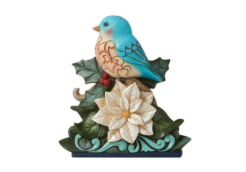 Heartwood Creek Festive & Feathered (Bluebird on White Poinsettia) - Heartwood Creek