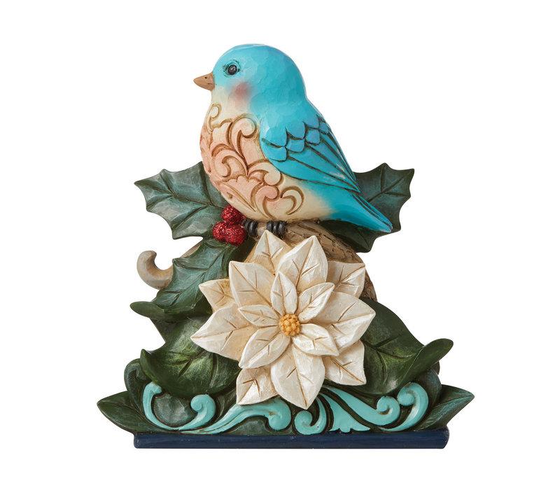 Heartwood Creek - Festive & Feathered (Bluebird on White Poinsettia)