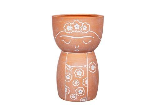 Sass & Belle Frida Kahlo terracotta vaas - Sass & Belle