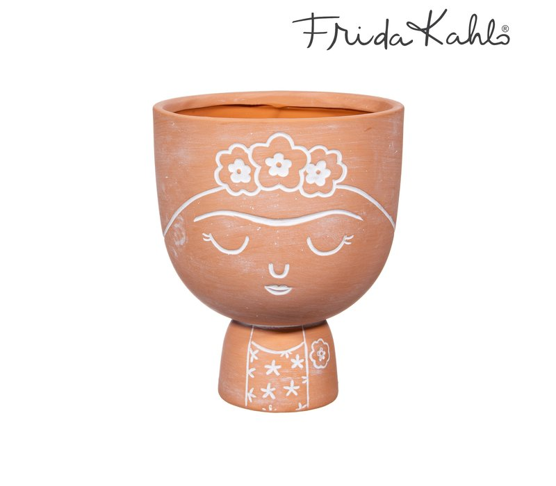 Frida Kahlo terracotta bloempot - Sass & Belle