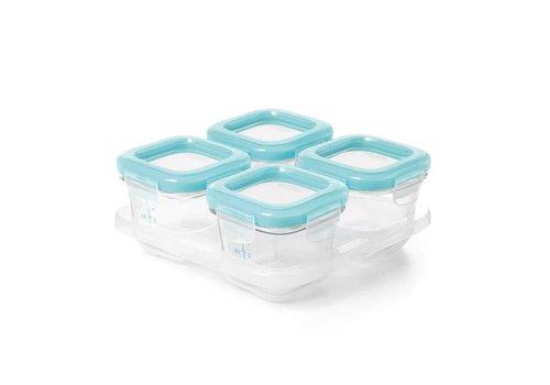 Oxo tot Diepvriesbakjes Glas ( 4 x 120 ml) Blauw