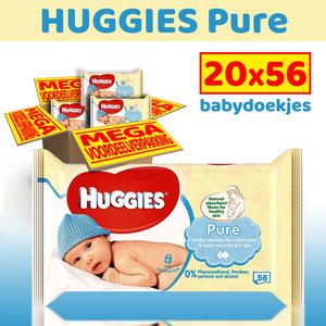 Huggies Huggies Pure - 20 x 56 billendoekjes - voordeelverpakking