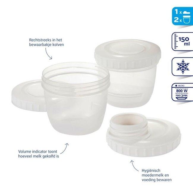 Difrax - Moedermelk bewaarbakjes incl. Kolfaansluiting - 2 bakjes + 1 deksel