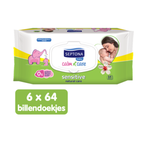 Septona Septona Baby Sensitive Billendoekjes - 0% Alcohol & Zeep - 6 x 64