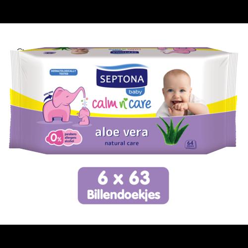 Septona Septona Baby Natural Care Aloe Vera Billendoekjes - 0% Alcohol & Zeep - 6 x 64