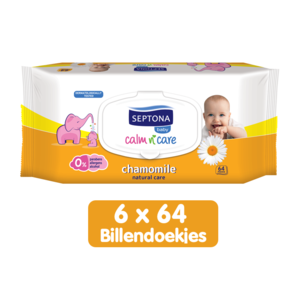 Septona Septona Baby Natural Care Kamille  Billendoekjes - 0% Alcohol & Zeep - 6 x 64