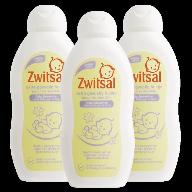 Zwitsal Zwitsal Baby - Bodylotion Extra Gevoelige Huid - 3 x 200ml - Voordeelverpakking