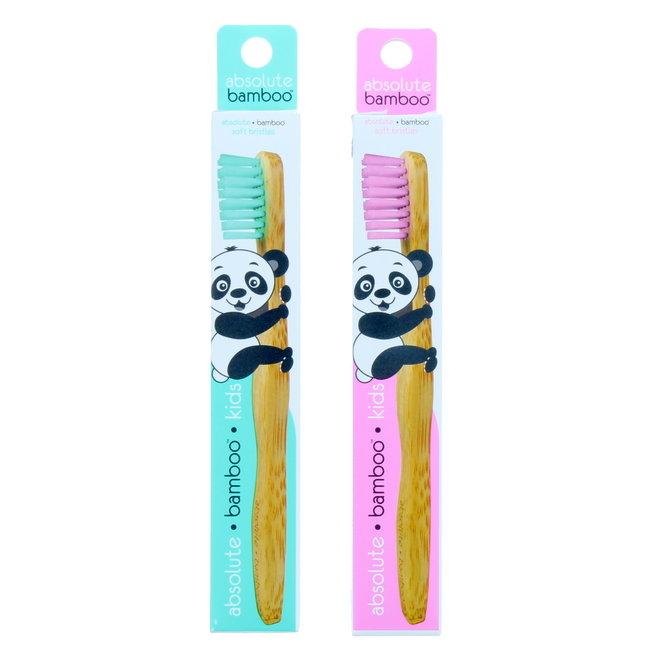 Absolute Bamboo - Kind tandenborstel met zachte borstel - Roze