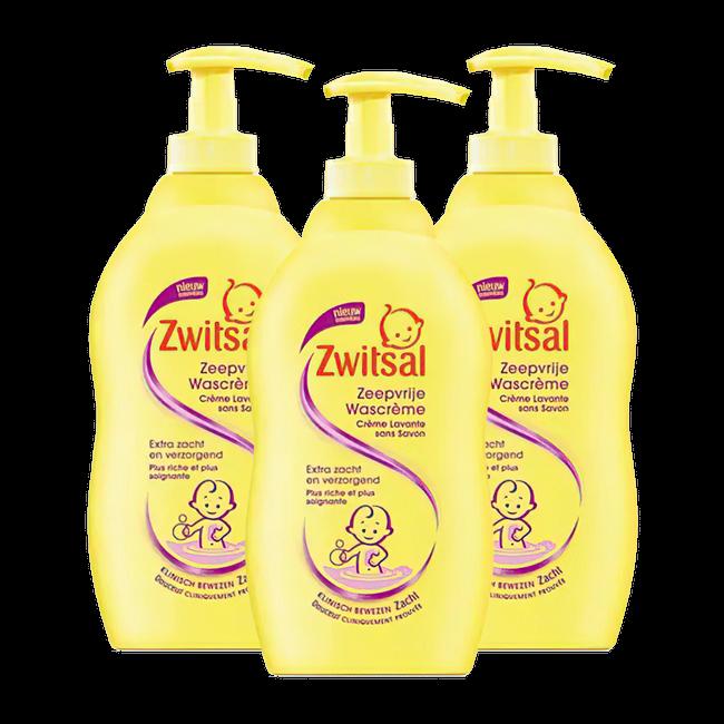 Zwitsal Zwitsal - Zeepvrije Wascreme + pomp - 3 x 400ml - 3-Pack Voordeelverpakking