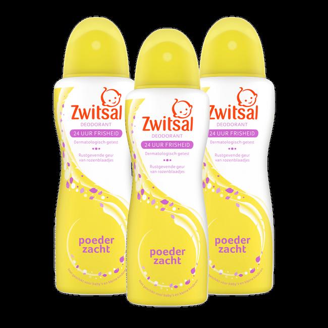Zwitsal Zwitsal - Deodorant spray Poederzacht - 3 x 100ml - 3-Pack Voordeelverpakking