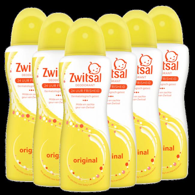 Zwitsal Zwitsal - Deodorant spray Orgineel - 6 x 100ml - 6-Pack Voordeelverpakking