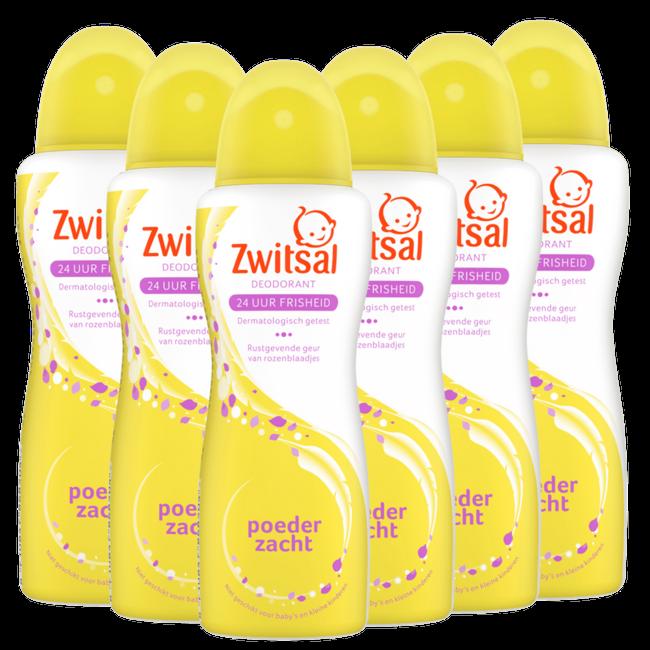 Zwitsal Zwitsal - Deodorant spray Poederzacht - 6 x 100ml - 6-Pack Voordeelverpakking