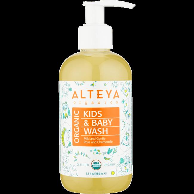 Alteya Organics - Baby Bad & Wasgel - 250ml - Biologisch & Mild - Met Pomp