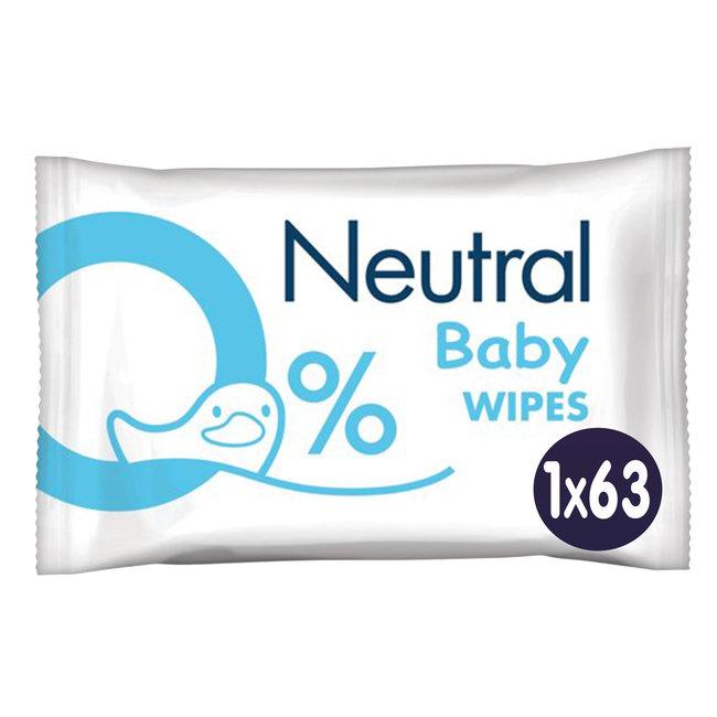 Neutral - Baby Billendoekjes - 63 stuks - 0% Parfum