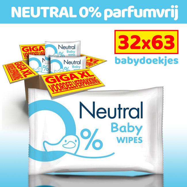 Neutral - Baby Billendoekjes - 32 x 63 stuks - 0% Parfum
