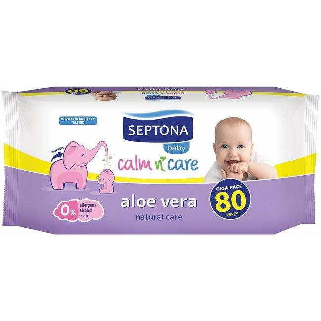 Septona - Baby Calm & Care Aloe Vera - Billendoekjes - 0% Alcohol & Zeep - 80 stuks