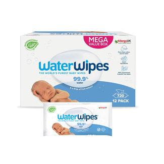Waterwipes WaterWipes - Billendoekjes - Gevoelige huid - 12 x 60 stuks - 99,9% Water - Plastic vrij
