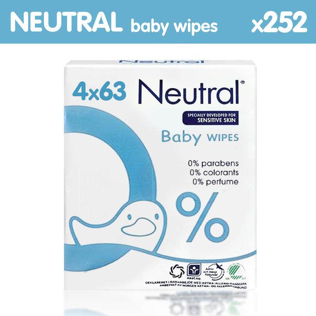 Neutral - Baby Billendoekjes - 4 x 63 = 252 stuks - 0% Parfum