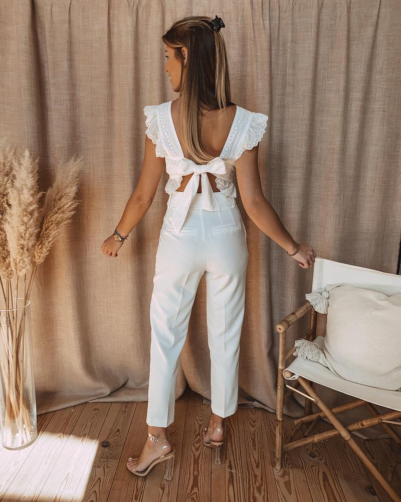 Crochet White Top Bow Back