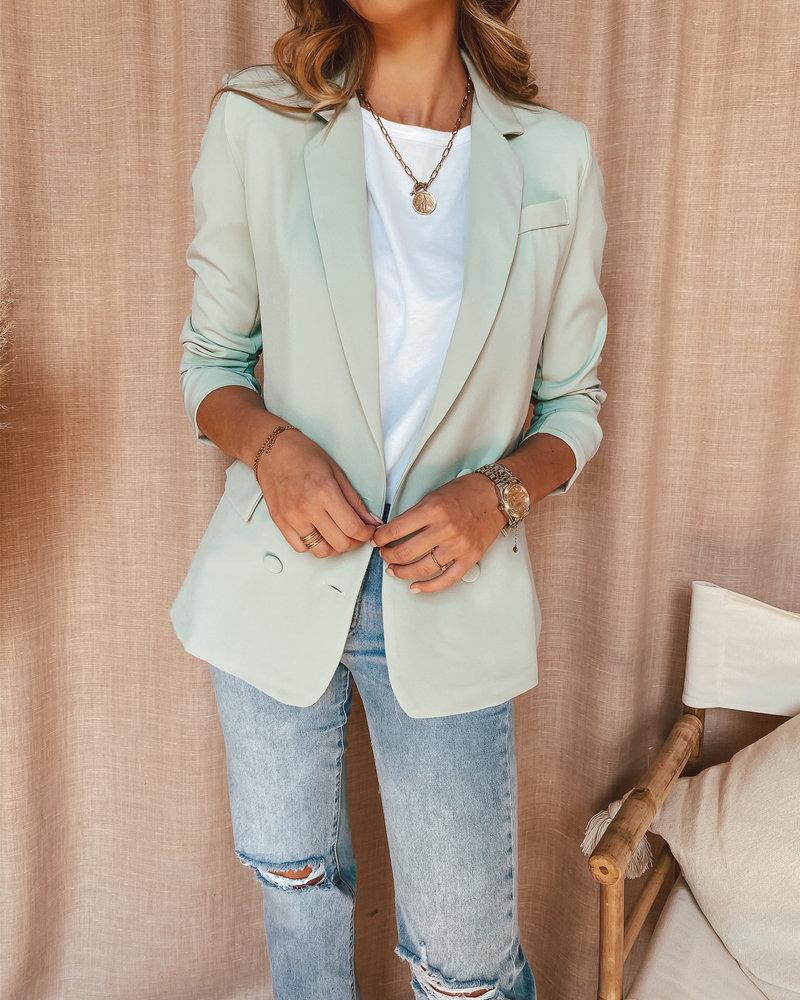Mint Green Button Blazer