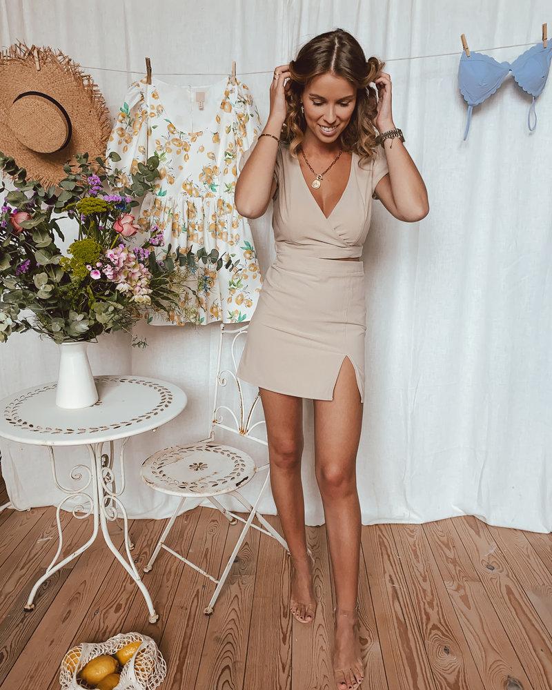 Beige Linen Split Skirt