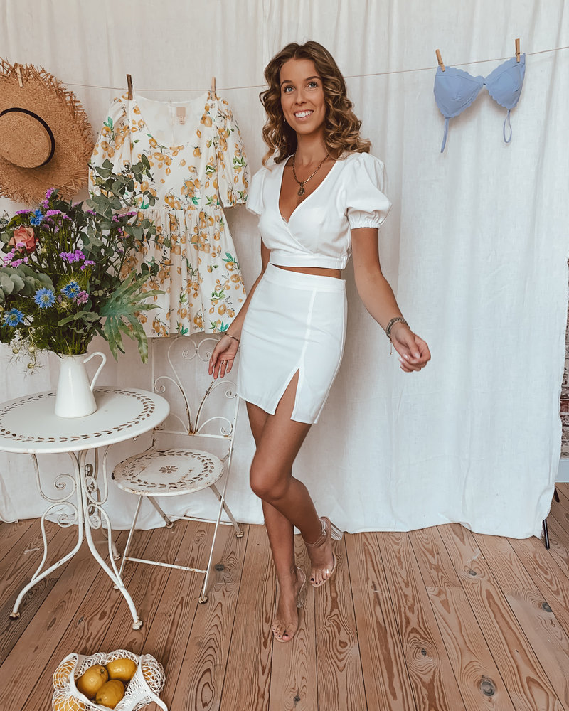 White Linen Split Skirt