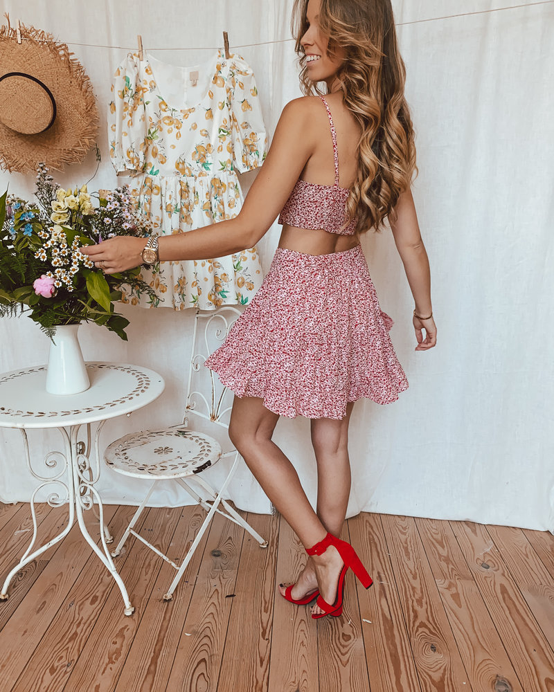 Red Flower Bow Top
