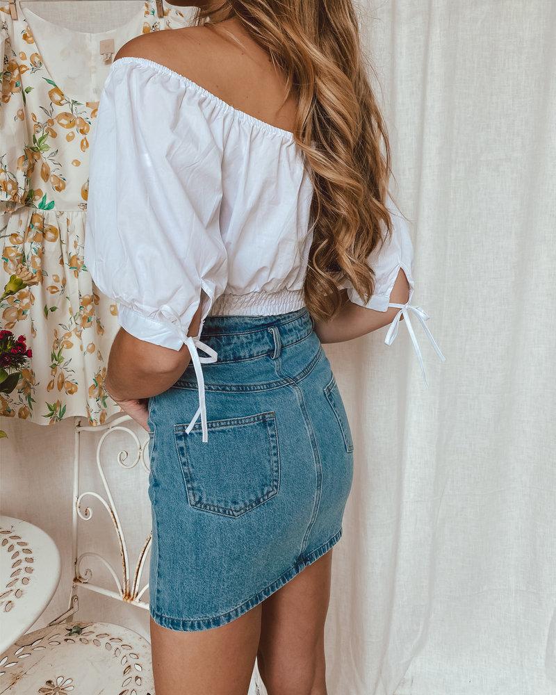 Button Jeans Skirt