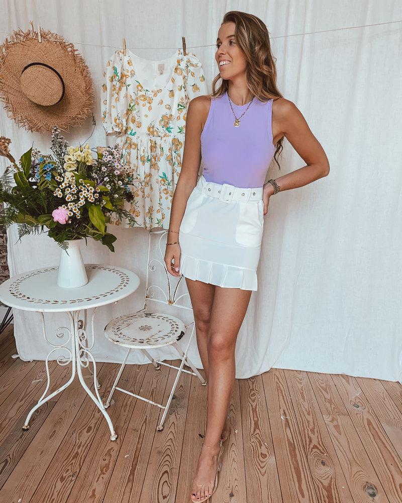 White Classy Plissé Skirt