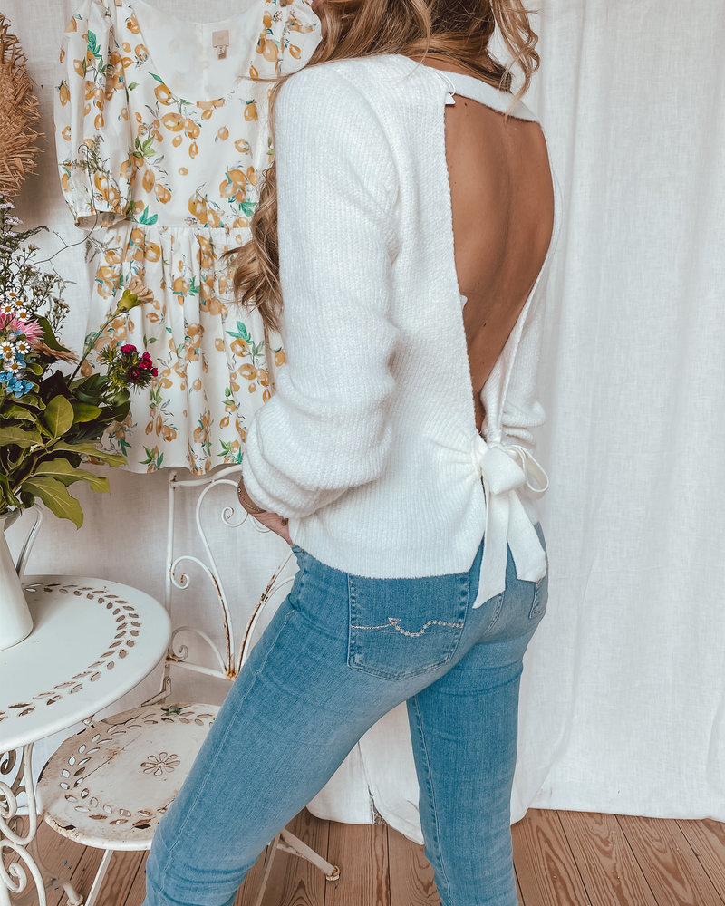 White Open Back Sweater