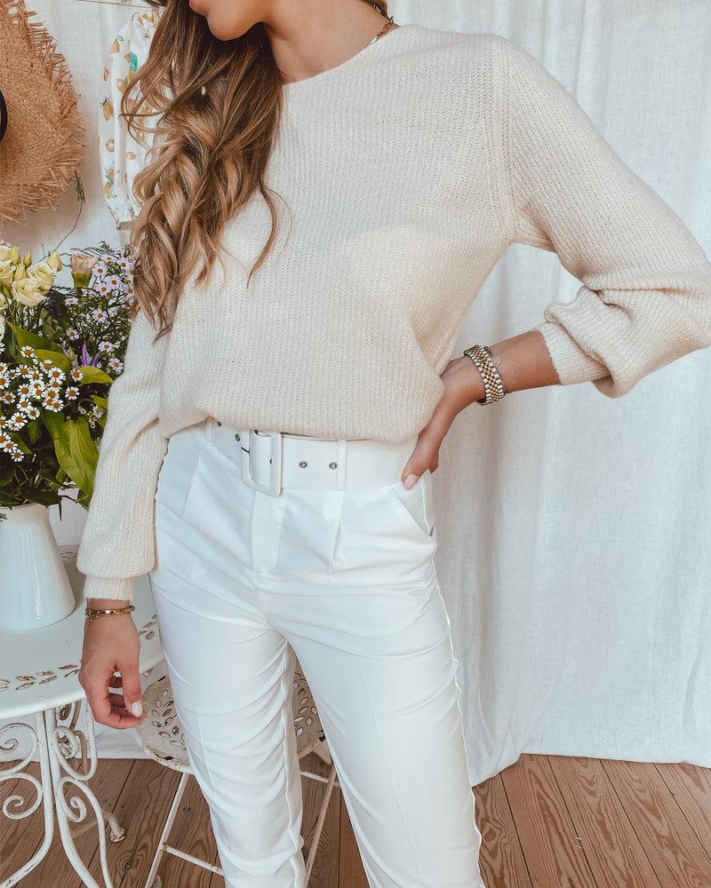 Beige Open Back Sweater