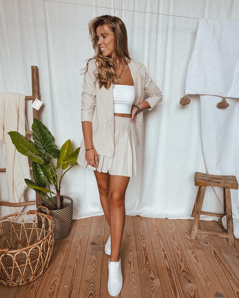 Linen Look Plissé Skirt Beige