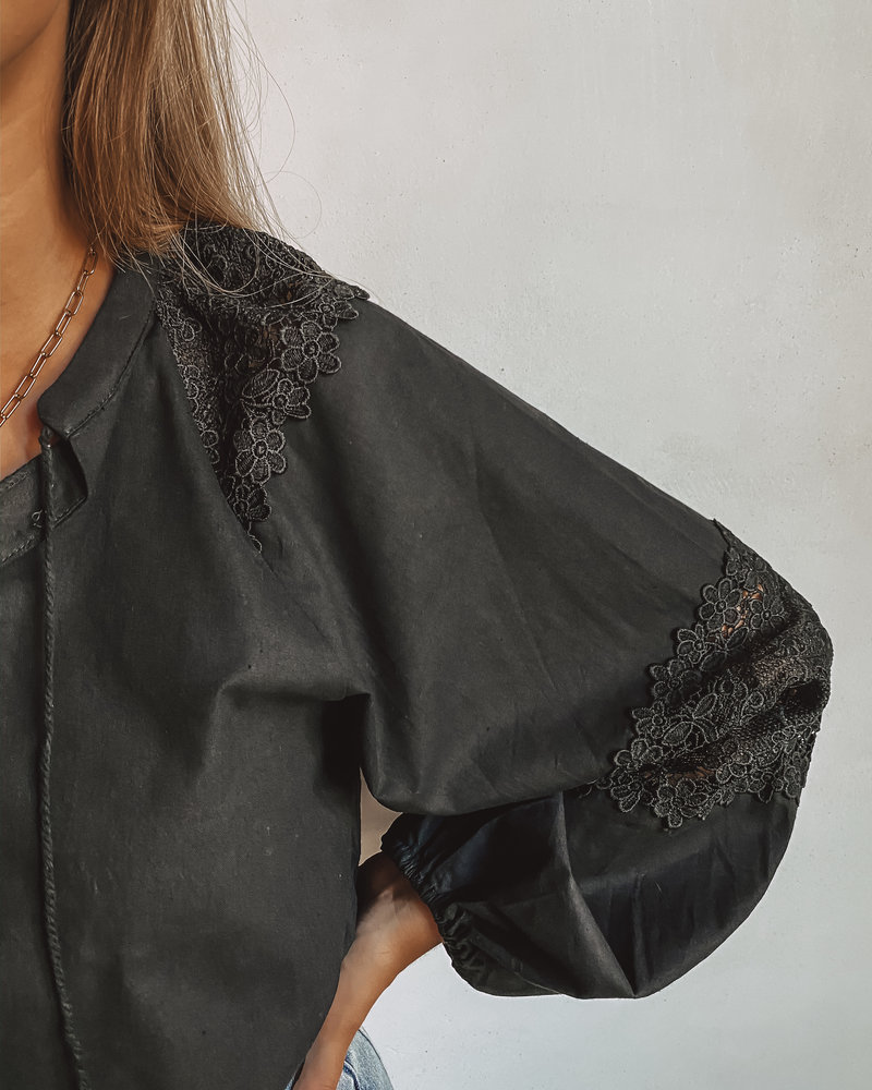 Oversized Black Lace Blouse