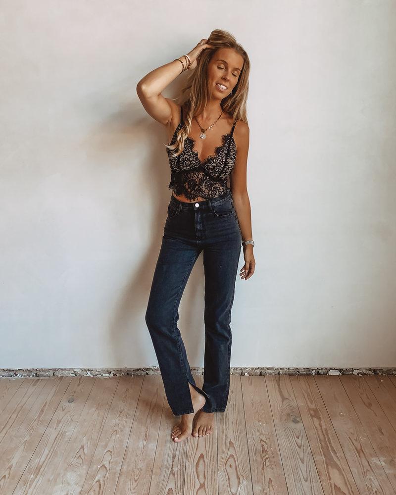 Black Split Jeans